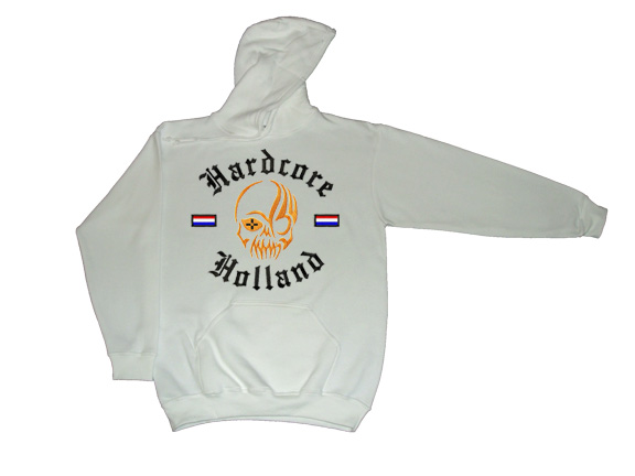 Hooded Hardcore Holland Skull(Wit)